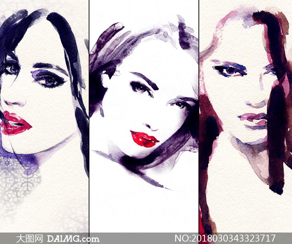 拼贴效果的美女人物水彩画高清图片