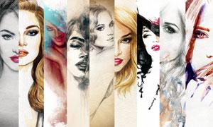 拼贴效果浓妆美女绘画作品高清图片