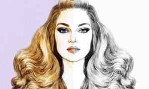 线稿美女上色前后对比效果高清图片