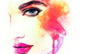 水彩喷溅元素美女人物绘画 澳门线上必赢赌场