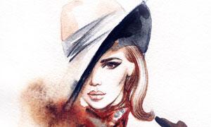 戴着帽子的风衣美女水彩画 澳门线上必赢赌场