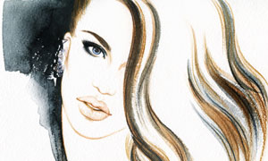 卷发美女人物水彩绘画创意 澳门线上必赢赌场