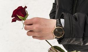 手里拿着玫瑰花的男人摄影高清图片