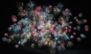 夜空中绽放的绚丽烟花摄影高清图片