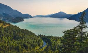 茂密树林湖光山色风景摄影高清图片