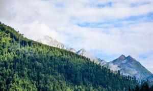 天空白云山峰树林风光摄影高清图片