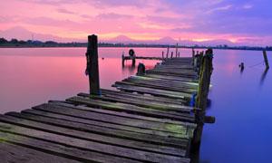 海上栈桥黄昏美景风光摄影高清图片