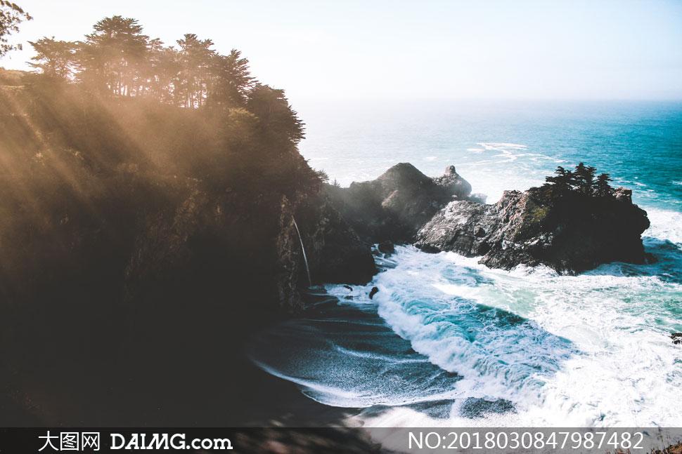 大海潮水与岸上的树木摄影高清图片