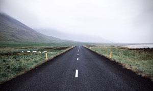 雾蒙蒙的野外公路风光摄影高清图片