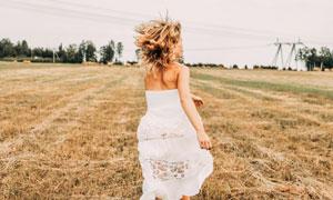 田地里奔跑的白裙美女摄影高清图片