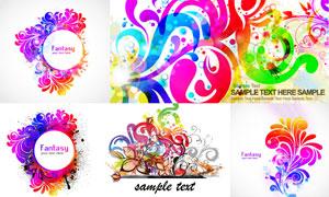 炫彩花纹装饰与手绘花朵等矢量素材