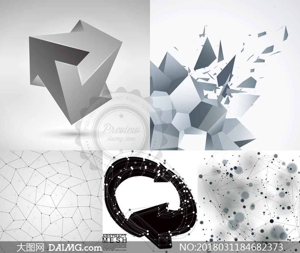 点线组合与立体图形等创意矢量素材