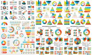 五彩缤纷统计图与信息图表矢量素材