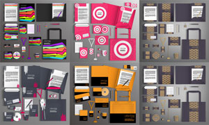 工作牌與手提袋等視覺元素矢量素材