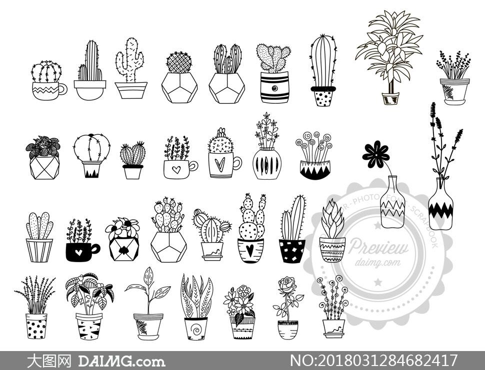 黑白效果的仙人掌植物主题矢量素材
