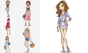 时尚服饰模特美女插画创意矢量素材