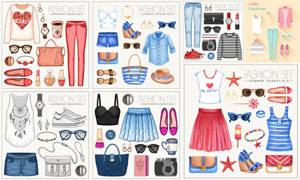 水彩风格女性时尚服饰元素矢量素材