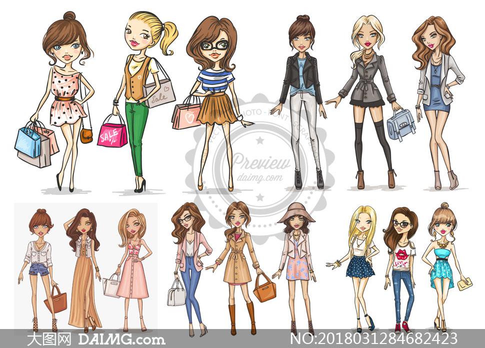 > 素材信息                          水彩风格女性时尚服饰元素矢量