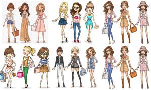 服饰展示时尚美女模特插画矢量素材