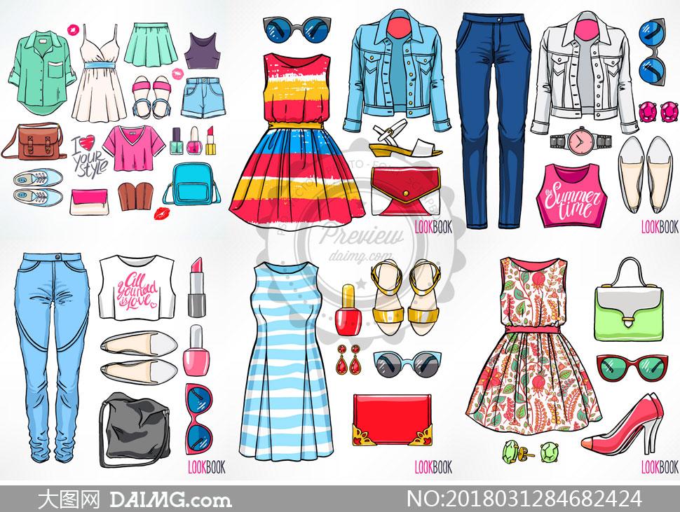 女性时尚服饰主题展示效果矢量素材