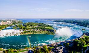 加拿大美丽瀑布全景摄影图片