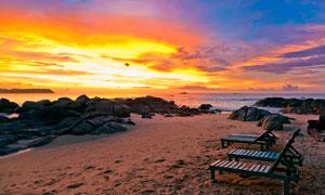 晚霞下的沙灘美景攝影圖片