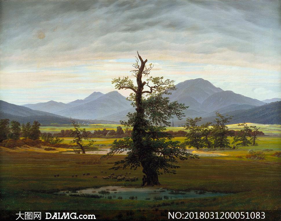 西方油画风景油画油画风景现代油画文化艺术绘画书法高清大图图片素材