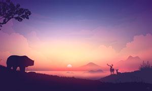 野外夕阳下的动物剪影图片素材