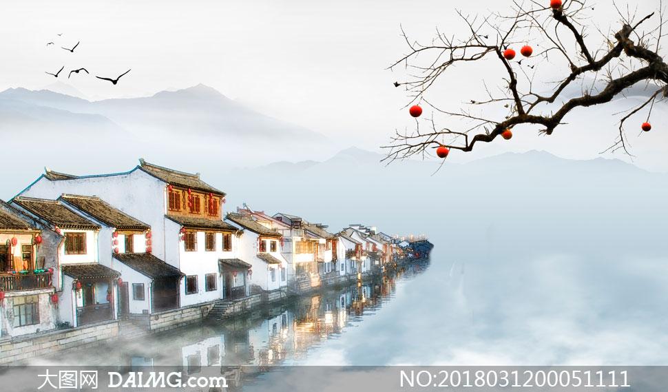 关 键 词: 中国风水墨风江南水乡古建筑江南建筑房屋河流河水倒影树枝
