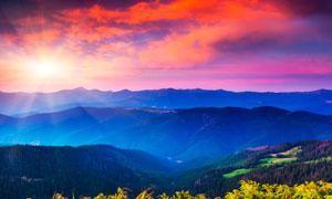 山顶美丽的日出景观高清摄影图片