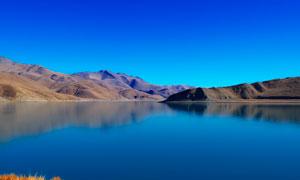 蔚蓝天空下的湖泊美景摄影图片