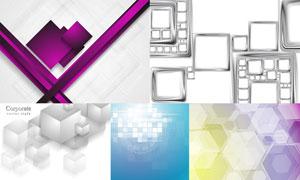 方形与六边形元素背景创意矢量素材