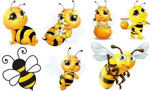 胖嘟嘟圆滚滚卡通蜜蜂创意矢量素材