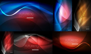 炫丽色彩波形曲线背景创意矢量素材