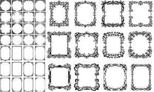黑白效果花纹装饰边框主题矢量素材