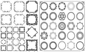 圆形与方形的黑白花纹边框矢量素材