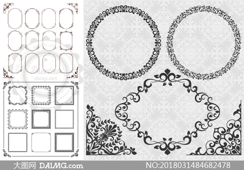精美花纹装饰边框主题设计矢量素材