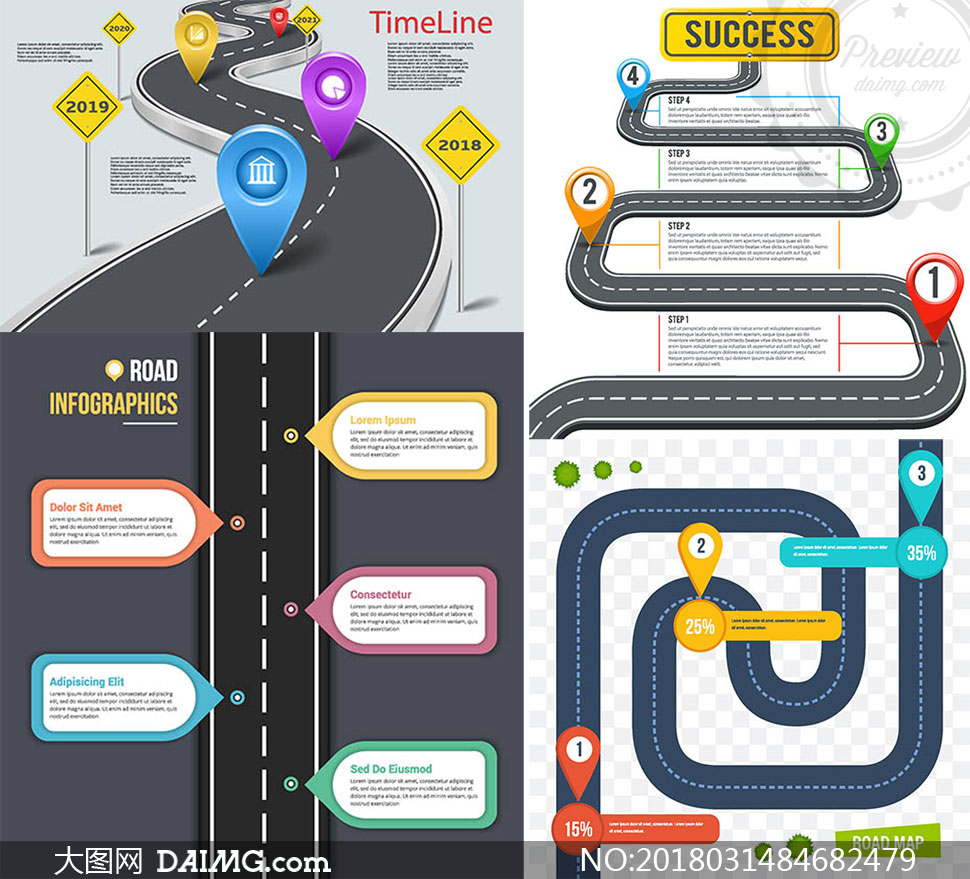 不同形态的道路元素信息图矢量素材