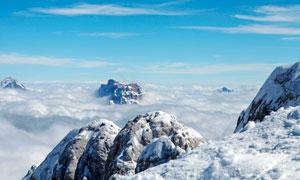 雪山山顶美丽云海摄影图片