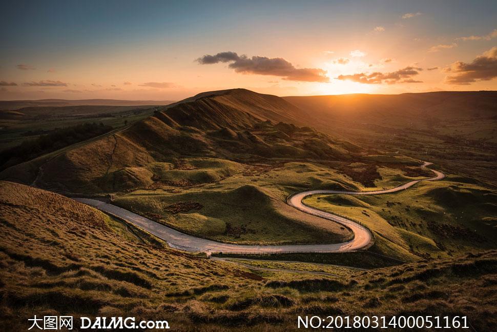 小路盤山公路山間大山山峰山巒山脈自然風景自然景觀攝影高清大圖圖片