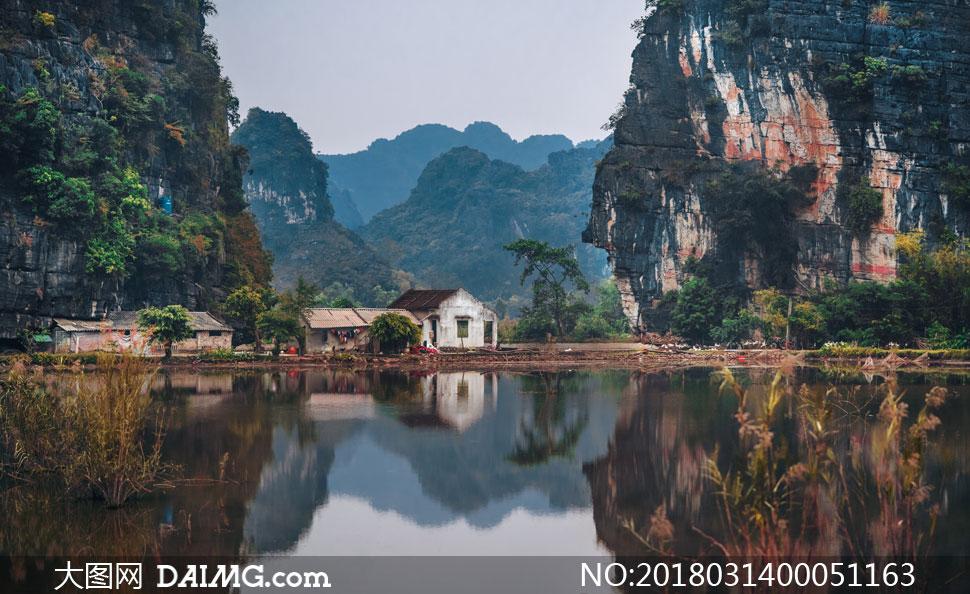 树木绿树民房房屋房子山水风景自然风景自然景观摄影高清大图图片素材