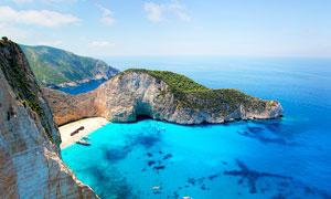 希腊沉船湾美景摄影图片