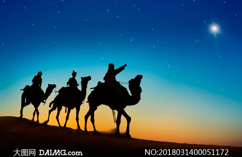沙漠中旅行的驼队剪影摄影图片图片