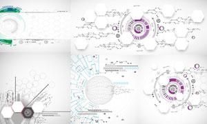 环形与多边形几何抽象背景矢量素材