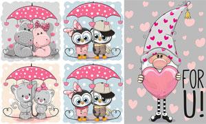 雨伞下的卡通熊等创意设计矢量素材