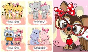 拟人化卡通小动物创意设计矢量素材