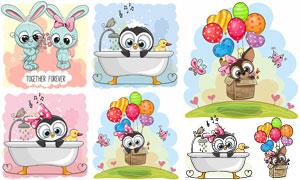 卡通兔子与在洗澡的猫头鹰矢量素材