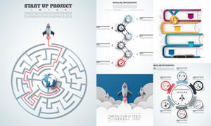 齿轮火箭等元素信息图创意矢量素材