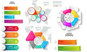 地图与几何元素的信息图表矢量素材