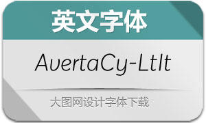 AvertaCyrillic-LightItalic(英文字体)